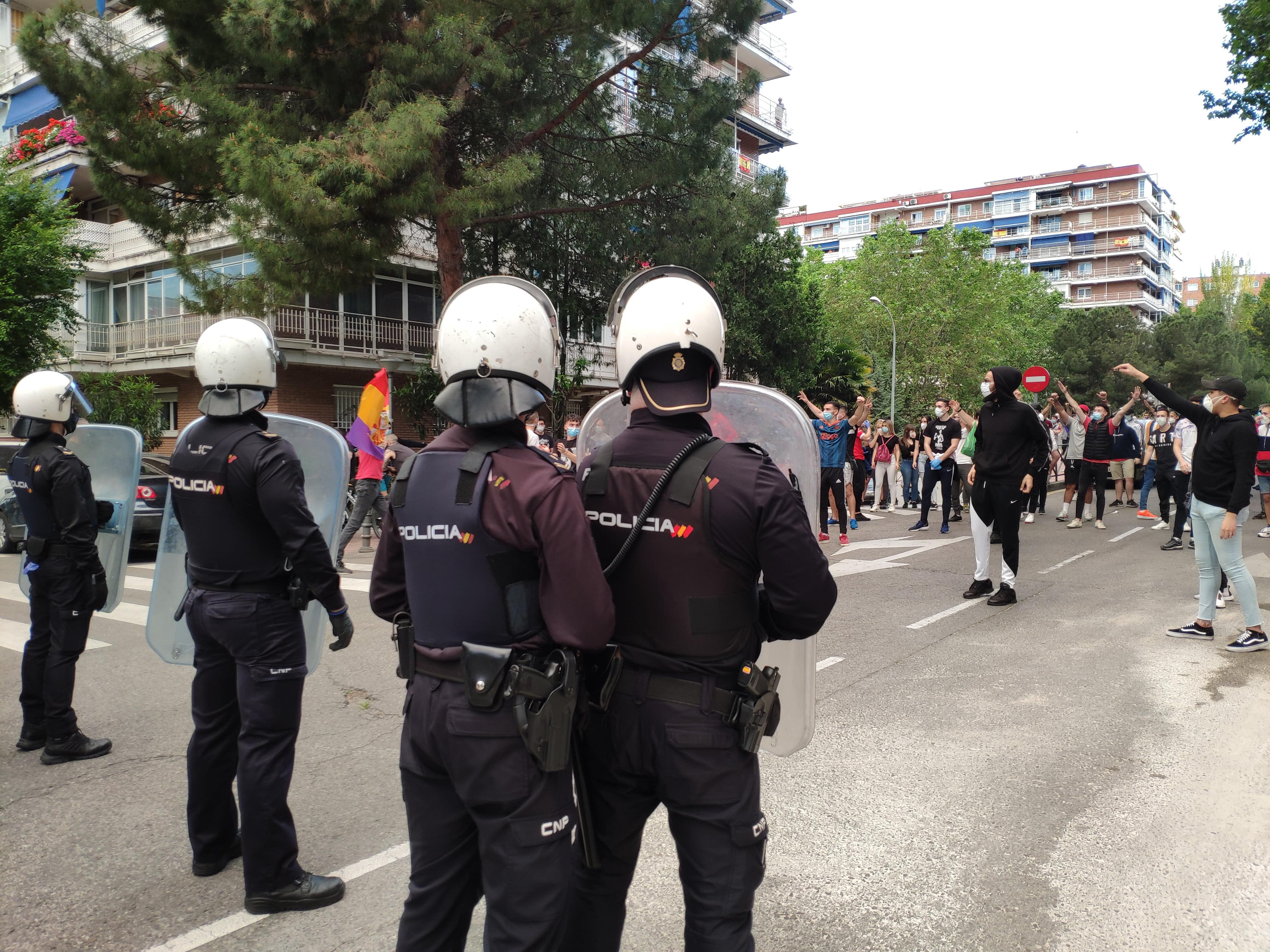 Cordón policial en Alcorcón