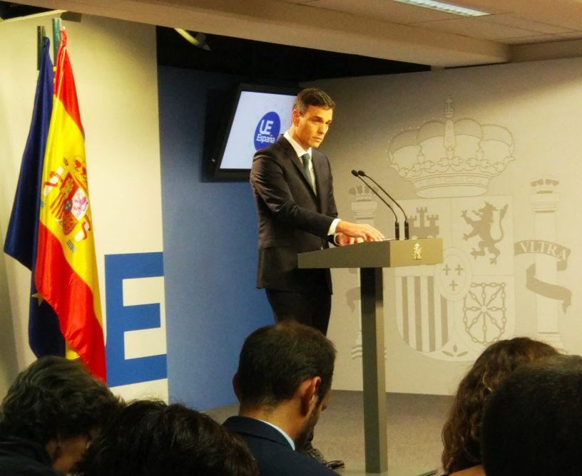 Pedro Sánchez comparece en Bruselas