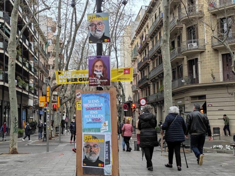 Una calle en Barcelona el 14-F
